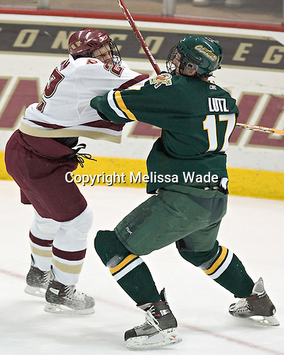 Dan Bertram, Mark Lutz - The Boston College Eagles completed a shutout sweep of the University of Vermont Catamounts on Saturday, January 21, 2006 by defeating Vermont 3-0 at Conte Forum in Chestnut Hill, MA.