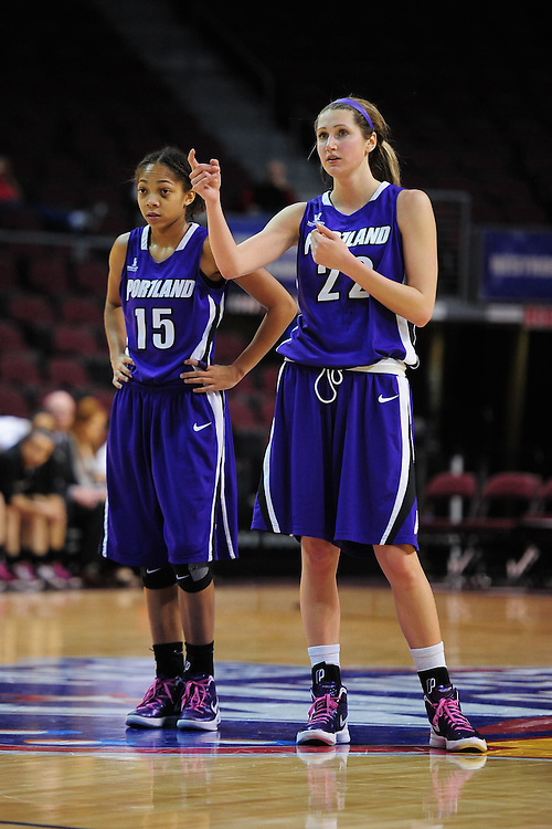 March 1, 2012; Las Vegas, NV, USA; Portland Pilots guard Alexis Byrd (15) and guard/forward Cassandra Brown (22) against the Santa Clara Broncos during the WCC Basketball Championships at Orleans Arena.