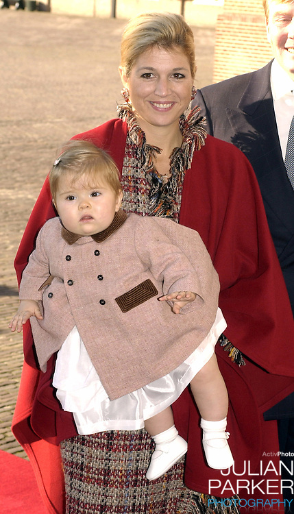 Crown Princess Maxima and daughter Amelia attend the Christening of Prince Constantijn & Princess Laurentien of Holland's son Claus-Casimir, at the Palais Het Loo in Apeldoorn..