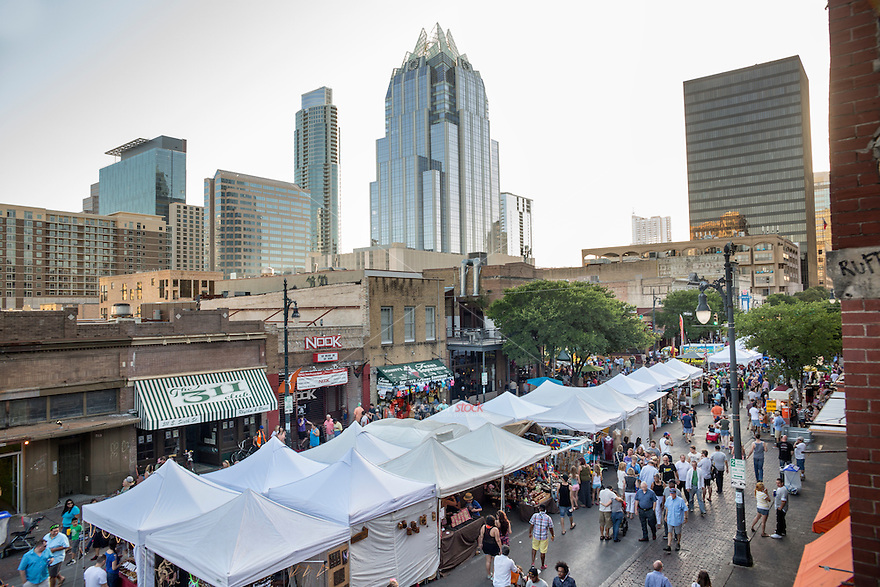 On the first weekend of May and the last weekend of September, The Old Pecan Street Festival fills 6th Street with hundreds of local and national artisans offering handcrafted creations in all sorts of two- and three-dimensional media. More than 60 of Austin's finest musical acts bring three stages to life, and family-friendly activities from street magicians to a petting zoo delight both adults and children. Thirty food vendors provide both healthy and indulgent choices, often supported by and benefiting charitable partners.