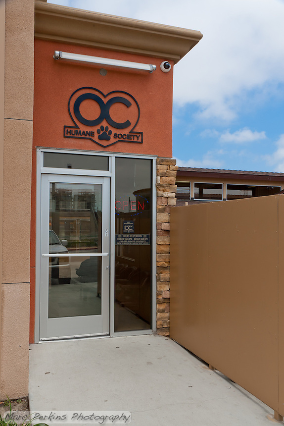 The new entrance to OC Humane society's shelter in Huntington Beach, California at 21632 Newland seen on a patchy cloudy day.