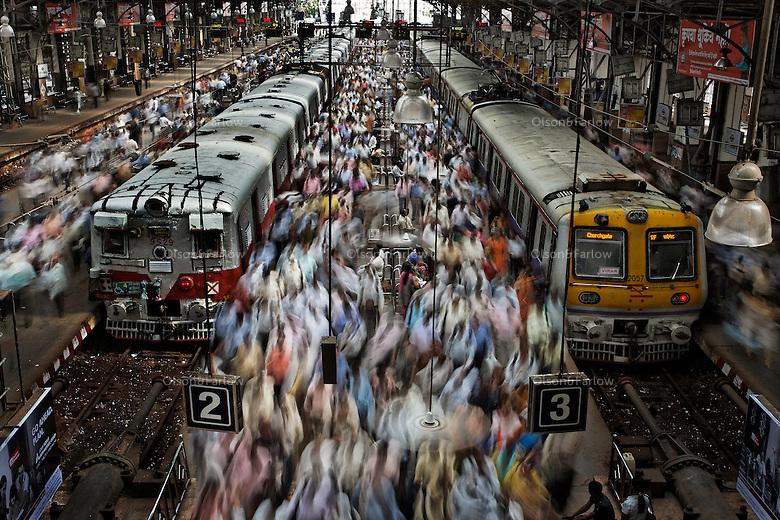 Churchgate Railway Station in Mumbai, India.