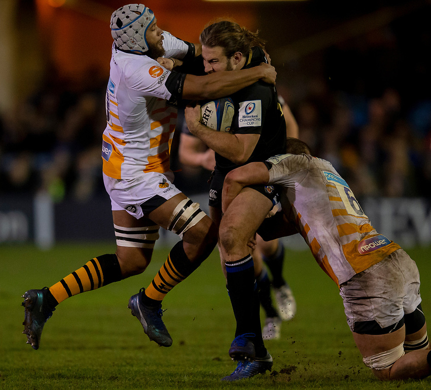 Bath Rugby's Max Clark in action during todays match<br /> <br /> Photographer Bob Bradford/CameraSport<br /> <br /> European Rugby Heineken Champions Cup Pool 1 - Bath Rugby v Wasps - Saturday 12th January 2019 - The Recreation Ground - Bath<br /> <br /> World Copyright © 2019 CameraSport. All rights reserved. 43 Linden Ave. Countesthorpe. Leicester. England. LE8 5PG - Tel: +44 (0) 116 277 4147 - admin@camerasport.com - www.camerasport.com