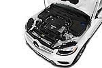Car Stock 2016 Mercedes Benz GLC-Class GLC300 5 Door SUV Engine  high angle detail view