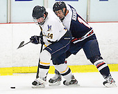 Tyler Quartuccio (Bentley - 14), Zach Hervato (RMU - 14) - The Bentley University Falcons defeated the visiting Robert Morris University Colonials 2-1 on Friday, January 6, 2012, at the John A. Ryan Skating Arena in Watertown, Massachusetts.