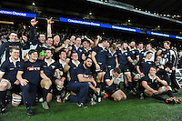 The Oxford University team celebrate victory after the match. The Varsity Match between Oxford University and Cambridge University on December 10, 2015 at Twickenham Stadium in London, England. Photo by: Patrick Khachfe / Onside Images