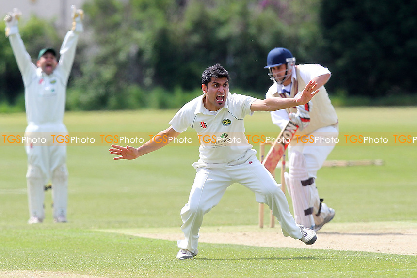 S Khan of Harold Wood appeals for the wicket of M Ismail - Hainault & Clayhall CC vs Harold Wood CC - Essex Cricket League - 25/05/13 - MANDATORY CREDIT: Gavin Ellis/TGSPHOTO - Self billing applies where appropriate - 0845 094 6026 - contact@tgsphoto.co.uk - NO UNPAID USE.