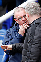 Peterborough manager, Steve Evans and Fleetwood Town manager, John Sheridan deep in conversation during the Sky Bet League 1 match between Peterborough and Fleetwood Town at London Road, Peterborough, England on 28 April 2018. Photo by Carlton Myrie.