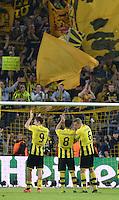 FUSSBALL  CHAMPIONS LEAGUE  HALBFINALE  HINSPIEL  2012/2013      Borussia Dortmund - Real Madrid              24.04.2013 Robert Lewandowski, Ilkay Guendogan und Sven Bender (v.l., alle Borussia Dortmund) freuen sic nach dem Abpfiff vor der Suedkurve