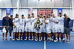24 MAY 2016:  The Virgina men's tennis team poses for a group photo after defeating Oklahoma for the National Championship. The Division I Men's Tennis Championship is held at the Michael D. Case Tennis Center on the University of Tulsa campus in Tulsa, OK.  Virginia defeated Oklahoma for the national championship. Shane Bevel/NCAA Photos