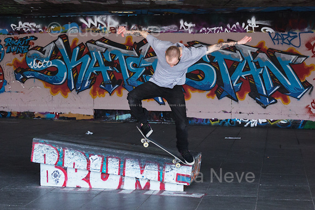 Greg Ory.<br /> <br /> London, 23/04/2013. The notorious Southbank Skate Park, Britain's most famous landmark and hub in the international skateboarding community, is under threat by a plan to turn it in retail units. The project is part of the refurbishment of the entire Festival Wing being undertaken by The Southbank Centre.<br /> In 2001 it was reported that skateboarding and the sport's associated consumer goods market were contributing up to &pound;10m dollars (&pound;6m) to the UK economy. Southbank Skate Park, otherwise known as the Undercroft, is the beating heart of this economy, and the removal of it has sparked much controversy.<br /> Source: http://skateboarding.transworld.net/1000010574/news/sorting-out-the-uk/<br /> <br /> To sign the online petition to &quot;Save Southbank Skate Park&quot; please click here: http://chn.ge/WwLosq<br /> <br /> For more information please click here: http://www.savethesouthbank.com