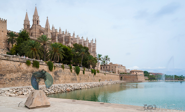 La Almudaina and La Seu in Palma de Mallorca. La Almudaina is a fortified palace claimed as royal residence in 14th century, La Seu is the Cathedral of Santa Maria, finished in 1601.