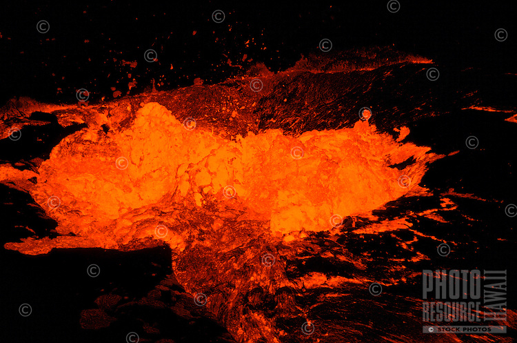 Hot lava from Kilauea volcano at Kupianaha vent, Puna, Big Island