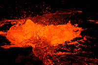 Hot lava from Kilauea volcano at Kupianaha vent, Puna, Big Island