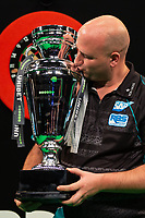 27th October 2019, Gottingen, Lower Saxony, Germany:  PDC European Championships; Final round; Rob Cross from England kisses the trophy after winning the final against Price.