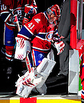 10 April 2010: Montreal Canadiens' goaltender Jaroslav Halak sets to the ice during pre-game introductions prior to the last game of the regular season against the Toronto Maple Leafs at the Bell Centre in Montreal, Quebec, Canada. The Leafs defeated the Habs 4-3 in sudden death overtime, as the Canadiens advance to the Stanley Cup Playoffs with the single point. Mandatory Credit: Ed Wolfstein Photo