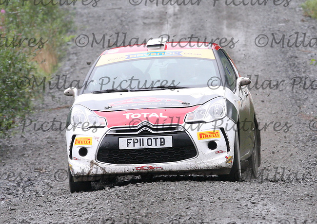 Jonny Greer - Stephen McAuley at Junction 9 on Special Stage 1 Moorfield Motor Services Craignell of the GWF Energy Merrick Stages Rally 2013, Round 7 of the RAC MSA Scotish Rally Championship which was organised by Machars Car Club and Scottish Sporting Car Club and based in Wigtown on 7.9.13.