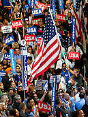 Flags and signs during the fourth session of the 2016 Democratic National Convention at the Wells Fargo Center in Philadelphia, Pennsylvania on Thursday, July 28, 2016.<br /> Credit: Ron Sachs / CNP<br /> (RESTRICTION: NO New York or New Jersey Newspapers or newspapers within a 75 mile radius of New York City)