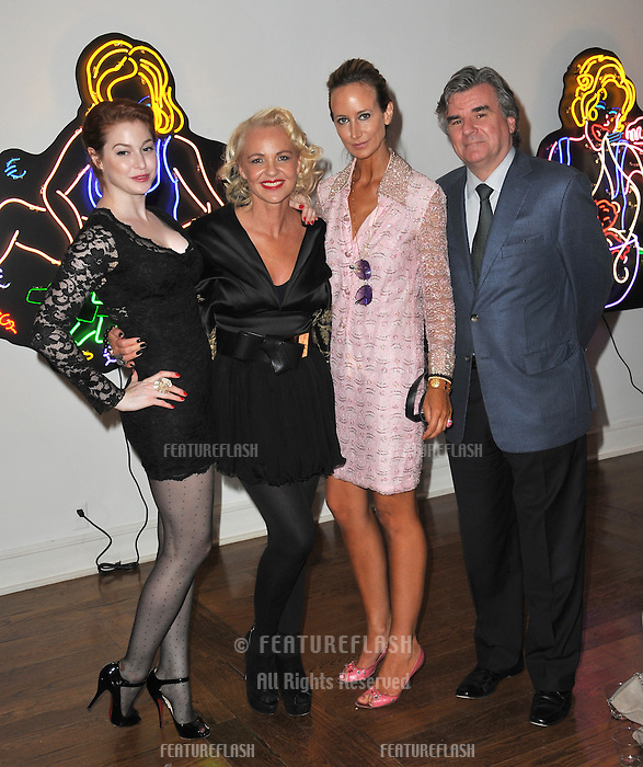 "Amanda Eliasch (centre) with Esmé Bianco (left) & Lady Victoria Hervey & Bob Peirce former British Consul-General to Los Angeles at reception for Eliasch's neon art exhibition ""Peccadilloes"" at the Leadapron Gallery, West Hollywood..June 16, 2011  Los Angeles, CA.Picture: Paul Smith / Featureflash"