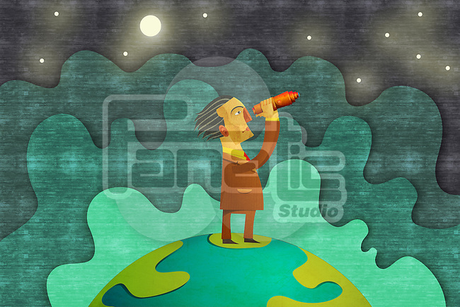 Illustrative image of businessman looking through binoculars representing business forecasting