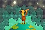 Illustrative image of businessman looking through binoculars representing business forecasting