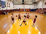 WATERBURY, CT-120618JS07-Members of the Sacred Heart girls basketball team run through plays during practice Thursday at Alumni Hall. <br /> Jim Shannon Republican American