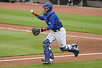 Iowa Cubs catcher Rafael Lopez (29) chases a runner back towards third base during a Pacific Coast League game against the Colorado Springs Sky Sox on May 11th, 2015 at Principal Park in Des Moines, Iowa.  Colorado Springs defeated Iowa 13-7.  (Brad Krause/Four Seam Images)