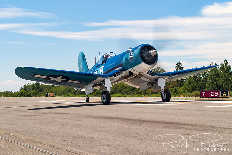 A Goodyear built FG-1D Corsair is taxied during the 2005 Grass Valley Airfest at the Nevada County Airport in the California foothills. The Corsair was pirmarily known as a Marines fighter plane during the Second World War with an ability to out climb and out dive the primary Japanese fighter, the A6M Zero. The aircraft's performance advantage, its ability to take severe punishment, and six .50-caliber Browning machine guns gave Navy and Marine pilots the advantage in the skies over the Pacific. Corsairs also flew in combat during the Korean War as well as the 1969 Football War between Honduras and El Salvador.