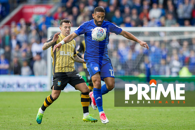 Ross Wallace of Sheffield Wednesday and Liam Feeney of Cardiff City during the Sky Bet Championship match between Cardiff City and Sheffield Wednesday at Cardiff City Stadium, Cardiff, Wales on 16 September 2017. Photo by Mark  Hawkins / PRiME Media Images.