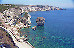Overlooking the Mediterranean sea and the coastline of the island of Corsica from the town of Bonifacio.