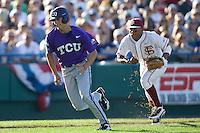 TCU's Rivera, Brance 2313.jpg against Florida State at the College World Series on June 23rd, 2010 at Rosenblatt Stadium in Omaha, Nebraska.  (Photo by Andrew Woolley / Four Seam Images)