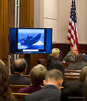 A exhibit showing a picture of PAUL WATSON, Founder of the Sea Shepherd Conservation Society, out at sea is shown during a hearing in the United States Court of Appeals, Ninth Circuit in Seattle, Washington on November 6, 2013. Japanese whalers, researchers and other Japanese seafood business leaders claim Watson and the Sea Shepherd ships disrupted their whale hunt in the Southern Ocean during the 2012-2013 whaling season thereby violating an injunction they brought up against him issued by the court last December. (copyright Karen Ducey/KarenDucey.com)