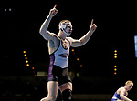 LA CROSSE, WI - MARCH 11: Jordan Newman of Wisconsin-Whitewater celebrates after beating Justin Kreiter of Luther in the 184 weight class during NCAA Division III Men's Wrestling Championship held at the La Crosse Center on March 11, 2017 in La Crosse, Wisconsin. Newman beat Kreiter by fall to win the National Championship. (Photo by Carlos Gonzalez/NCAA Photos via Getty Images)