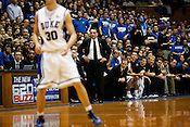 Although Duke maintained a lead of 20 points or more for most of the game, Coach Mike Krzyzewski was all business as the Blue Devil's rousted long-time rival UNC 82-50 in the last regular season game at Cameron Indoor Stadium in Durham, N.C., Sat., March 6, 2010. ..