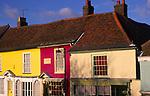 A3AAT2 Wooden framed colourful Tudor shop fronts Market Hill Woodbridge Suffolk