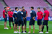 9th September 2017, Camp Nou, Barcelona, Spain; La Liga football, Barcelona versus Espanyol; RCD Espanyol team inspect the pitch before their derby match