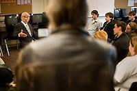 Presidential candidate Ron Paul speaks to students at the Straight A Academy in the Boys and Girls Club in Manchester, New Hampshire, USA.  Paul is seeking the Republican nomination for president.  At this meeting, Paul opened himself up to any questions the students had.  Straight A Academy is a small, accredited private school that seeks to return to traditional pedagogical methods.