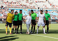 CHARLOTTE, NC - JULY 20: Megan Rapinoe after the coin toss of a game between Arsenal and Fiorentina during a game between ACF Fiorentina and Arsenal at Bank of America Stadium on July 20, 2019 in Charlotte, North Carolina.