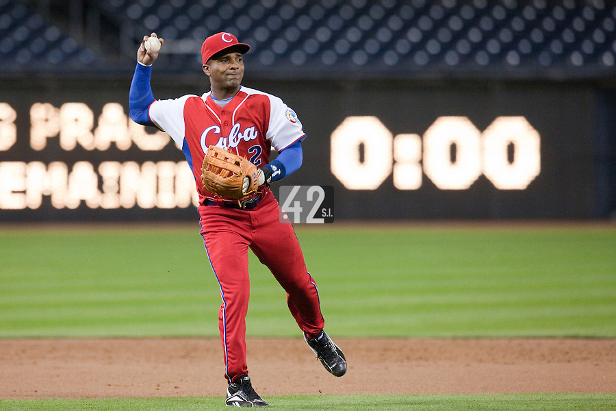 16 March 2009: #2 Eduardo Paret is seen during infield practice prior to the 2009 World Baseball Classic Pool 1 game 3 at Petco Park in San Diego, California, USA. Cuba wins 7-4 over Mexico.