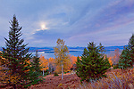 Autumn moonset at the Height-of-Land Overlook in Rangeley, ME, USA