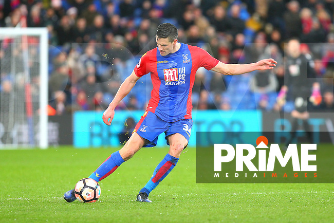 Martin Kelly of Crystal Palace passes the ball during the FA Cup fourth round match between Crystal Palace and Manchester City at Selhurst Park, London, England on 28 January 2017. Photo by PRiME Media Images / Steve McCarthy.