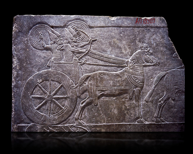 Stone relief sculptured panel of aa Assyrian Chariot. From the palace of Ashurnasirpal II  room VI/T1, Nineveh, third quarter of the 8th century BC. inv 19909  Louvre Museum , Paris