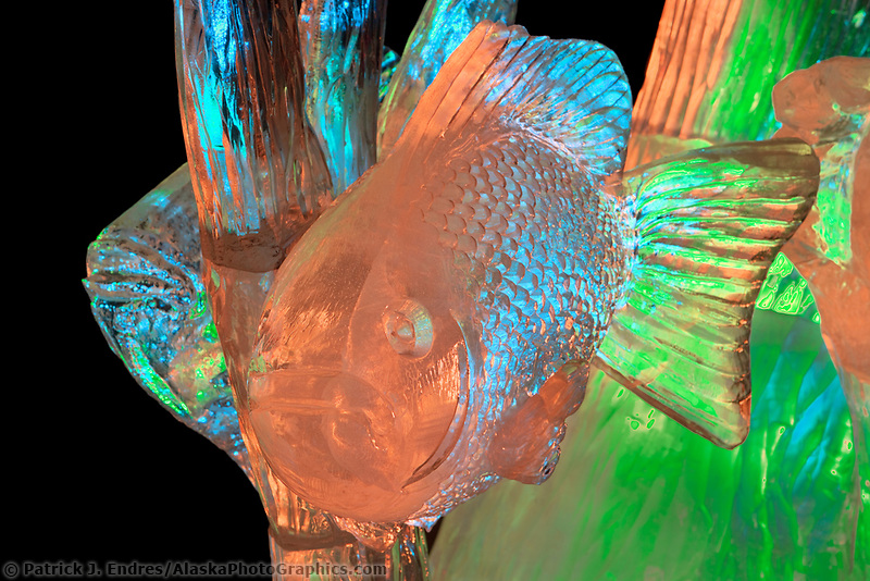 """2006 World Ice Art Championships single block sculpture. """"The Chase"""" by Chad Hartson and Gary Chsitensen"""