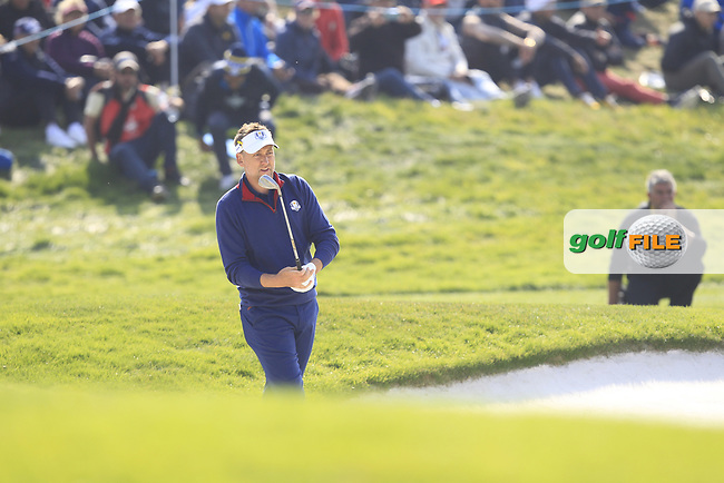 Ian Poulter (Team Europe) on the 2nd green during the Friday Foursomes at the Ryder Cup, Le Golf National, Ile-de-France, France. 28/09/2018.<br /> Picture Thos Caffrey / Golffile.ie<br /> <br /> All photo usage must carry mandatory copyright credit (© Golffile   Thos Caffrey)
