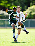 1 September 2009: Siena College Saints' midfielder/forward Emery Welshman (10), a Freshman from Mississauga, Ontario, maintains possession over University of Vermont Catamount Patrick Alonis (23) at Centennial Field in Burlington, Vermont. The Saints edged out the Catamounts 1-0. Mandatory Photo Credit: Ed Wolfstein Photo