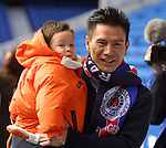 Michael Mols arrives at Ibrox with 2 year old son Nino fot the launch of the Rangers family section