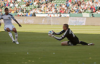 LA Galaxy goalie Josh Saunders catches a shot on goal during the first half of a friendly between LA Galaxy and Boca Juniors. The game was held at the Home Depot Center in Carson, CA on May 23, 2010. The final score was LA Galaxy 1, Boca Juniors 0.