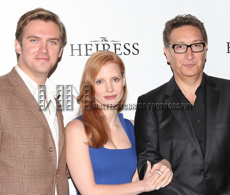 Dan Stevens, Jessica Chastain, Moises Kaufman, attending the Meet & Greet the Broadway Cast of 'The Heiress'  at the Empire Hotel in New York City on September 13, 2012