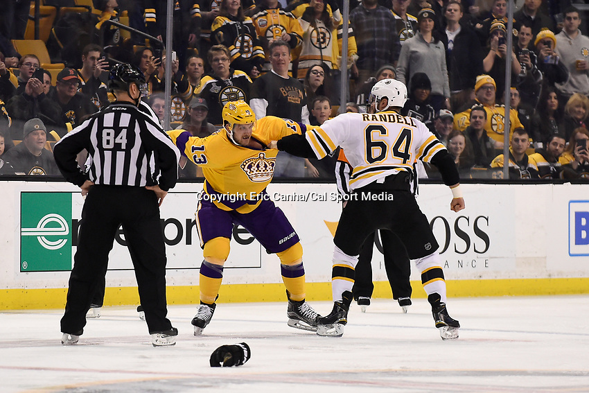 Tuesday, February 9, 2016: Los Angeles Kings left wing Kyle Clifford (13) and Boston Bruins right wing Tyler Randell (64) fight on the ice during the National Hockey League game between the Los Angeles Kings and the Boston Bruins, held at TD Garden, in Boston, Massachusetts. The Kings defeat the Bruins 9-2. Eric Canha/CSM