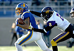 BROOKINGS, SD - DECEMBER 2: Marquise Lewis # 11from South Dakota State picks up extra yards after a catch past Malcolm Washington #2 from Northern Iowa during their FCS Division 1 playoff game Saturday afternoon at Dana J. Dykhouse Stadium in Brookings, SD. (Photo by Dave Eggen/Inertia)
